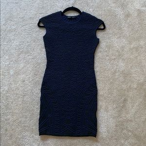 RVN BODYCON DRESS BLUE AND BLACK FITS LIKE XS.